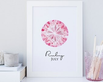 July wall printable, July birthstone print, Ruby wall art decor, Ruby birthstone wall art, Red gem wall print, home decor Ruby, July gem