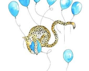 Leopard on a balloon