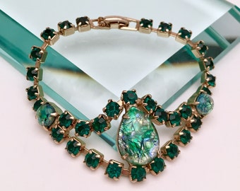 Vintage 1950s Rhinestone and Cabochon Cut Art Glass Costume Jewelry Bracelet in Green and Gold