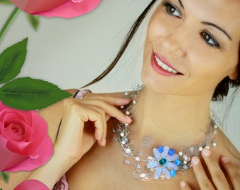 Crystal Necklace - Blue Flowers | Perfect Gift for Her  ON SALE from 38.00EUR