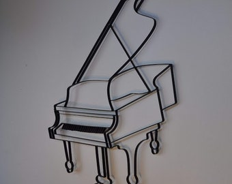 Grand Piano Instrument Black Metal Wall Art Decor Sculpture