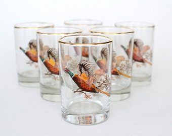 Vintage Glasses : Pheasants (set of 6)