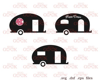 Camper SVG Cut Files Monogram Frame Svg For Use With Silhouette