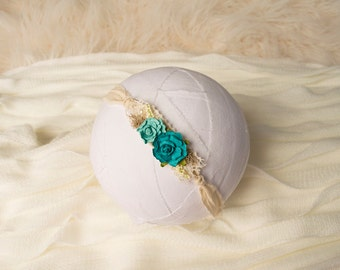 Aqua Tieback, Newborn Headband, Baby Tieback, Newborn Tieback, Baby Headband, Photo Prop