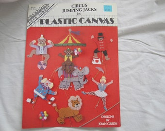 Circus Jumping Jacks Plastic Canvas Pattern booklet / Back Street Designs by Joan Green / Clown elephant lion monkey