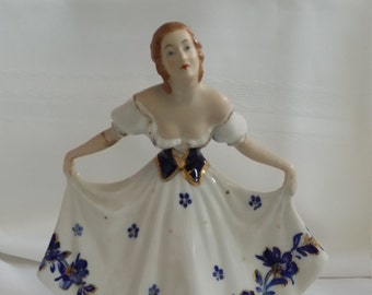 Beautiful Vintage Woman in Flowing White, Blue and Gold Gown Figurine