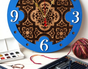 Azulejos Portugueses wooden decorative wall clock