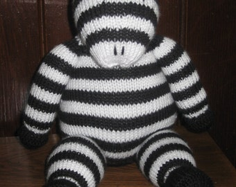 Knitted stuffed Zebra