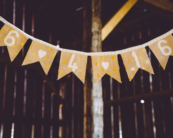 Wedding Date Burlap and Lace Polka Dot Banner/Customized Wedding Banner/Wedding Banner/Polka Dot Burlap Banner