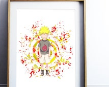 Kid Naruto Watercolor Print Naruto Art Painting Splash Anime Illustration, Gift, Ninja kids children Kid Hokage Sage WC045