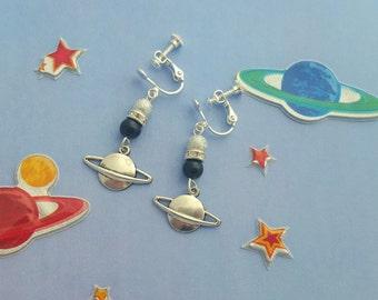 Planet Clip On Earrings, Childrens Earrings, Kids Jewellery, Space Jewelry, Children's Fashion, Kids Earrings, Space Geek, Spacewoman Gift
