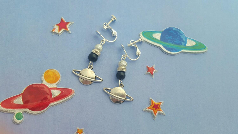 planet clip on earrings childrens earrings kids jewellery. Black Bedroom Furniture Sets. Home Design Ideas