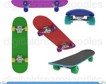 Skateboard Clip Art, Skateboard Clipart, Skater Image, Skateboarding Graphic, Skateboarder Picture, Skate Deck Scrapbook, Instant Download