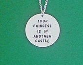 necklace gamer necklace your princess is in another castle geek necklace geek gamer