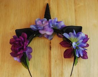 Unicorn Horn Set/ Cosplay Unicorn Headband / Unicorn Headband/ Unicorn Flower Crown