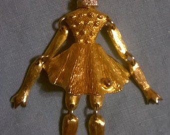 Dancing Queen, moveable, necklace pendant