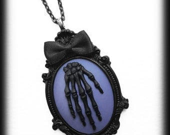 Zombie Necklace, Gothic Cameo, Black Skeleton Hand on Purple Cameo Pendant, Steampunk Victorian, Handmade Jewelry, Gothic Gift