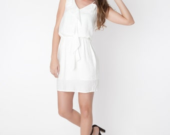 White cotton with front ruffle dress