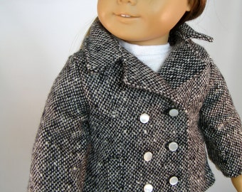 18 Inch Doll Clothes - Peacoat Donegal Tweed Wool Pea Coat Winter Jacket for American Girl Doll or other 18 Inch Doll