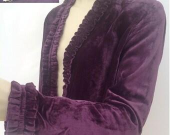 Vintage 1930s velvet jacket with ruched details Art Deco flapper antique
