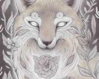 Lunar Fox Matted Print