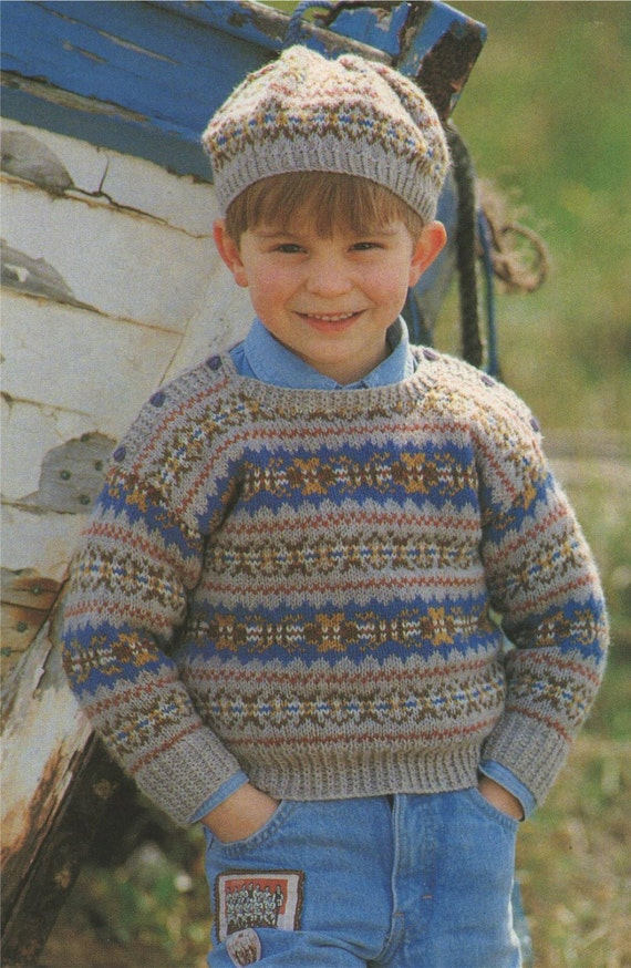 Knitted Beret Pattern Toddler : Childrens Fair Isle Sweater and Beret Knitting Pattern : Boy or Girl . Toddle...