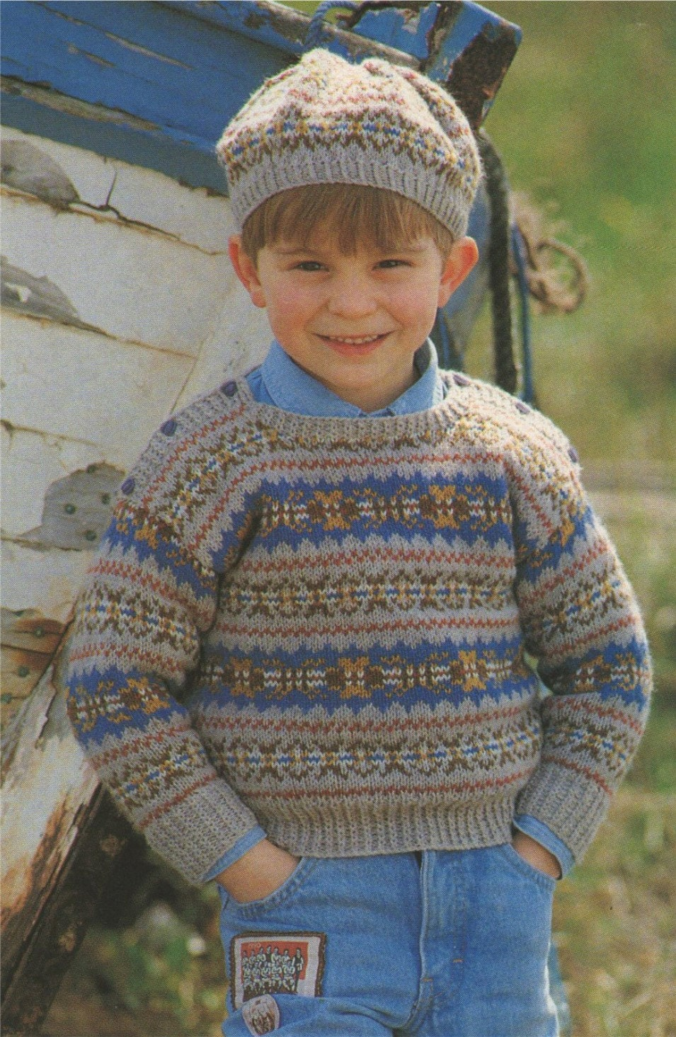 Toddler Jumper Knitting Pattern : Childrens Fair Isle Sweater and Beret Knitting Pattern : Boy or Girl . Toddle...