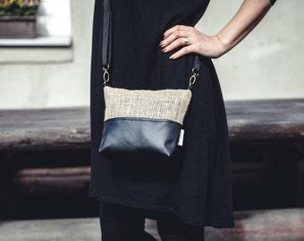 Shoulder bag, zipper bag, Jute bag, Vegan leather bag, Small bag, Small Messenger Purse, Casual, Gift