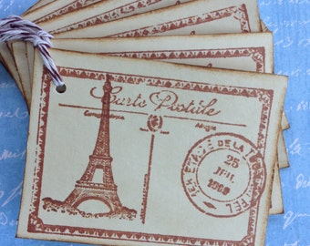French Post Card Tags/ Paris Gift Tags/ Coffee Stained Post Card Tags/Eiffel Tower Gift Tags/Vintage Inspired Post Card Tags/Set of 6