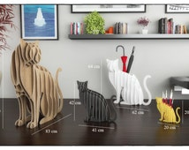 CAT UMBRELLA HOLDER  - Template cutting file - Cat Unmbrella stand - laser and cnc router cutting plans, animal bookshelf, wooden puzzle