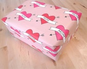 For Mom Wrapping Paper Sheets, Mother's Day Gift Wrap, Love Mom Heart Tattoos, 29x20 inches each, shipped rolled in tube
