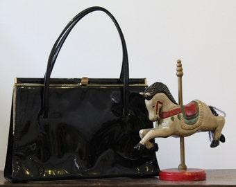 Vintage Black Patent Leather Handbag 50's