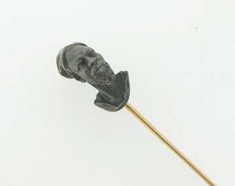 Antique Blackamoor head stick pin, silver and 18kt gold