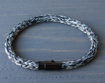 Mens Bracelet | Rope Bracelet | Black White Bracelet with Magnetic Clasp