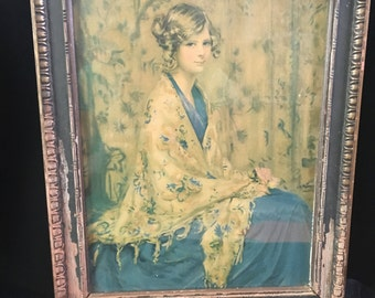 Alice Blue Gown Lithograph Print Original Art Deco/ Nouveau Frame 1920's Artist Arthur Garret Free Shipping!