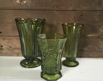 Vintage Green Glass Pedestal Vase Collection