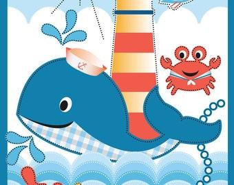 "Cartoon Fabric - Whale's Adventure Animal Ocean Crab Bird Blue 100% Cotton 44"" x 36"" Fabric Panel, G309"