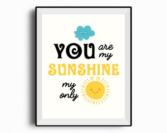 You Are My Sunshine Wall Art, Set Of 2 Printables, Nursery Decor, Kids