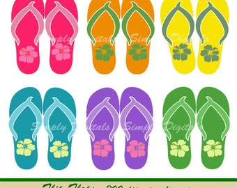 Flip Flops. Flip Flop Clipart. Scrapbooking. Greetings. Invites. Instant Download. SD.