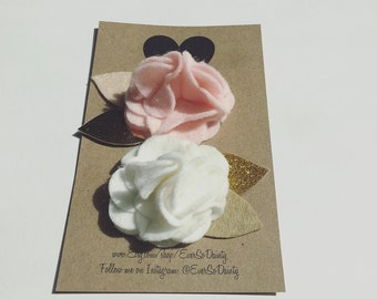 Floral Hair Clips (2Pack) Pink, White, Gold, Glitter, Metallic Cute Felt Flower Hair Accessories for girls and all ages.