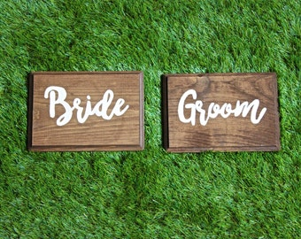 Bride & Groom Wood Signs || Chair Signs || Rustic Wedding Decor || Reception Decor