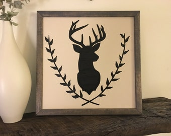 Square, Deer Silhouette Wall Sign