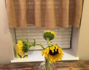 Window Burlap Valance, Burlap Curtain, Short Burlap Curtain, Handmade Burlap Curtain