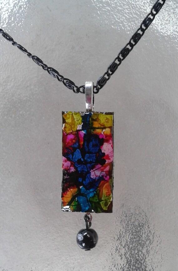 Unique Necklace, Eggshell Mosaic Necklace, Eggshell Mosaic, Abstract Necklace, Modern Necklace, Eggshell Mosaic Pendant, Black Thin Chain