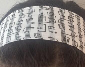 Reversible Fabric Headband Music or Bandana