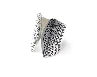 Boho Ring // Silver Ring // Hilltribe Ring // Handmade Ring // Adjustable Ring // Tribal Ring // Zig Zag Pattern Ring // Gift for her