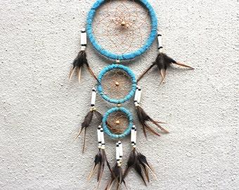 Dreamcatcher // Beaded Dreamcatcher // Feather Dreamcatcher // Light Blue Dreamcatcher // Boho Decor // Wall Decor