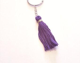 Purple Tassel with Gold Thread  hippie keychains boho key chains tassel key chains tassel girly key chain  planner key ring  handmade tassel