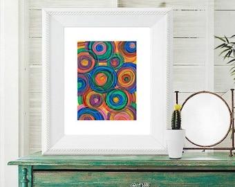 Colorful Circles art print, Abstract Circles art print