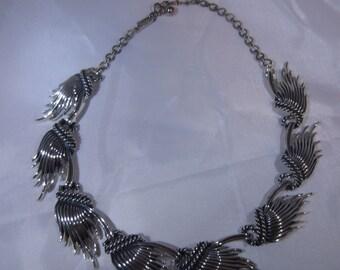 Vintage Silver Tone Charel Necklace, Charel Choker, Fan Necklace, Whisp Necklace, Whisps, Whispy